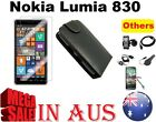 leather Flip Case Tempered Screen Protector Charger Sync Cable 4 Nokia Lumia 830