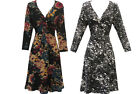 New Ladies Vintage Floral print long line fitted soft Jersey Tunic Dress Top