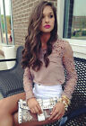 New Womens Casual Long Sleeve Shirt Lace Crochet Emboriey Loose Tops Blouse