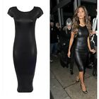 XXL-M Bandage Midi Dress Bodycon PU Leather Pencil Sexy Black