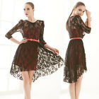 Girls Stylish Twinset Red Camisole Black See-through Lace Pullover Dresses 6126
