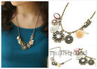 Fashion Women Vintage Petal flower Chain Crystal Choker Chunky  Long Necklace