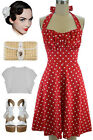 50s Inspired RED with White POLKA DOTS Pinup Betty HALTER TOP Sun Dress