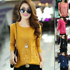 2014 New Women Crewneck Lace Long Sleeve Knitwear Sweater Slim Pullover Jumper