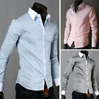 ON SALE Luxury Mens Stand Collar Casual Shirts Formal Wedding Party Dress Shirts