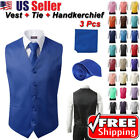 SET Vest Tie Hankie Fashion Men's Formal Dress Suit Slim Tuxedo Waistcoat Coat