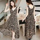 Sexy Leopard Wrapped V-neck Chiffon Tunic Womens Maxi High Low Dress Asymmetric