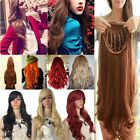 """19""""-28"""" Full Wigs Straight/Curly Fancy Dress Cosplay Costume Wig Party USPS C1"""