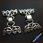 4 / 6 Strings Filigree Silver Plating Flower Toggle Clasps Connector Findings