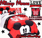 DISNEY MICKEY MOUSE RED Black LOVE 7-9P QUILT / Comforter SHAM SHEET SET+2-Pillow