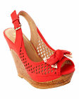 WOMENS RED BOW SUMMER BEACH PLATFORM WEDGE SANDALS SHOES LADIES UK SIZE 3-8