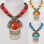 Tribal Statement Acrylic Tassel Retro Vogue Copper Wood Bead Pendant Necklace
