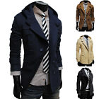US Official Mens Casual Double Breasted Trench Slim Fit Long Coat Hoodies Jacke