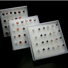 1 Pack( 12 pairs) multicolored Zircon Stud Earring Silver color-6 Claws