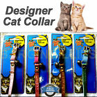 New Designer Leather Cat Collar Diamante Buckle Fish Motif Cute Bell  4 Colours