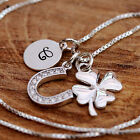 Personalized Sterling Silver Lucky Clover Horseshoe Initial Tag Pendant Necklace