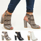 Womens ladies block heel zip peep toe backless cut out ankle strap boots size