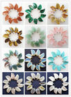10 Pcs Natural Mixed Gemstone Carved Leaf Pendant Bead LX-142