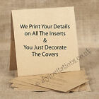 75 Personalised Kraft Pocketfold Wedding Invitations - We Print All Your Inserts