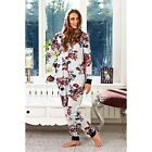 WOMENS NIGHTWEAR ONESIE GREY MARL RED  FLORAL LADIES SIZE SMALL-X. LARGE