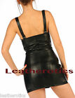 Soft leather mini dress front lace tie and zip md94