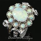 Flower 7x9mm Oval White Fire Opal Cabochon Silver Cocktail Ring Size 6 7 8 9 10