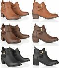 Ankle Boots Womens Gusset Buckle Pull On Croc Chelsea Low Heel Shoes Size