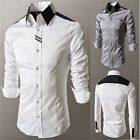 2015 New Men's Luxury Long Sleeve Casual Slim Fit Stylish Solid Dress Shirts Hot