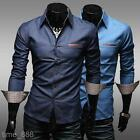 Mens Fit Casual Blouse Long Sleeve Shirt Turn-down Collar Jean Shirts MCL117