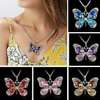 Women Silver Crystal Rhinestone Butterfly Pendant Necklace Long Sweater Chain