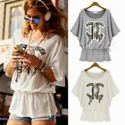 New Crew Neck Batwing Sleeve Decorated Drawstring Womens Graphic T-shirt Top Tee