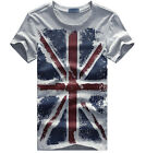 New Arrival Men's Summer Casual Union Jack T-Shirt Round Neck Printed Tee Gray