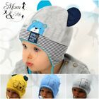 NEW Kids Baby Boys Hat Toddler Cap Stretchy Cotton Spring Beanie Lace Up Striped