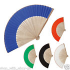 5 x Bamboo Wooden Handheld Fan - Hand Bridal Wedding Party Fabric Ribbed Summer