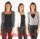 Women Cotton Knit Cardigan 3/4 Long Sleeve V Neck Button Cropped Jumper Top Work