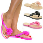 WOMENS LADIES FLOWER TOE POST SANDALS SUMMER SHOES FLIP FLOPS BEACH UK 3-8 NEW
