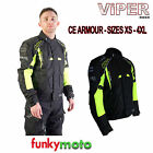 VIPER CLEARANCE JACKET CORETECH MOTORBIKE CORDURA BLACK YELLOW CE ARMOURED 600D