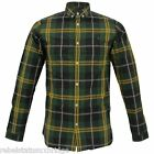 FRED PERRY Shirt Men's Long Sleeves MOD Tartan Check Cotton Green Sizes: S - XL