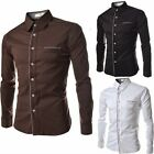 2015 New Mens Luxury Long Sleeve Embroidered Casual Slim Fit Solid Dress Shirts
