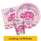 FIRST/1ST BIRTHDAY LADYBUG Party Range PINK GIRL Tableware Balloons Decorations