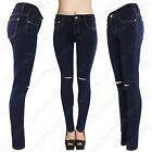 NEW LADIES INDIGO BLUE RIPPED KNEE SKINNY JEANS WOMEN DENIM STRETCH FIT LOOK RIP