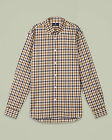 Aquascutum Devonshire Mens Designer Long Sleeve Vicuna Check Shirt Blue Beige