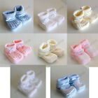 Boys Girls Unisex Neutral Baby Knitted Satin Booties Many Colours