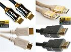 BLACK WHITE HDMI 1.4 GOLD Cable High Speed FULL HD TV 4K 3D