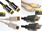 BLACK WHITE & Braided HDMI 2.0 GOLD Cable High Speed ULTRA FULL HD TV 4K 3D HDR