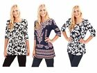 Womens Paisley Tunic Top Navy Blue Summer Blouse Ladies Clothing Size UK 8 - 16