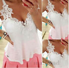 Fashion Womens Ladies Sexy V Neck Lace Short Sleeve Casual Tops Blouse Size 8-14