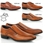 MENS LEATHER FORMAL SLIP ON LACE UP CASUAL OXFORD BROGUES OFFICE TAN SHOES SIZE