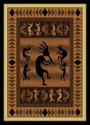 "Modern Black Kokopelli Carpet 5x8 Navajo Bordered Area Rug : Actual 5'3""x7'2"""