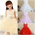 Girls Party Flower/Formal/Wedding/Princess/Bridesmaid/Communion Kids Dress 2-10Y